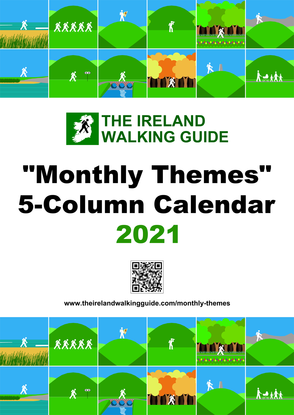 The Ireland Walking Guide 2021 Monthly Themes 5-Column Calendar