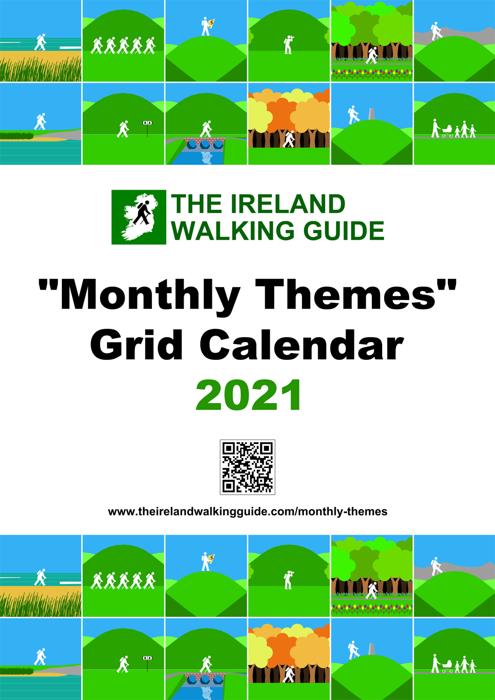 The Ireland Walking Guide 2021 Monthly Themes Grid Calendar
